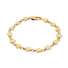 Genuine Vintage Tiffany & Co. 18 Karat 750 Yellow Gold Hearts Stars Bracelet