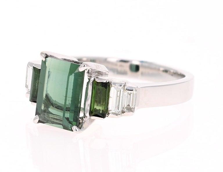 Modern 3.05 Carat Green Tourmaline Diamond 18 Karat White Gold Ring For Sale