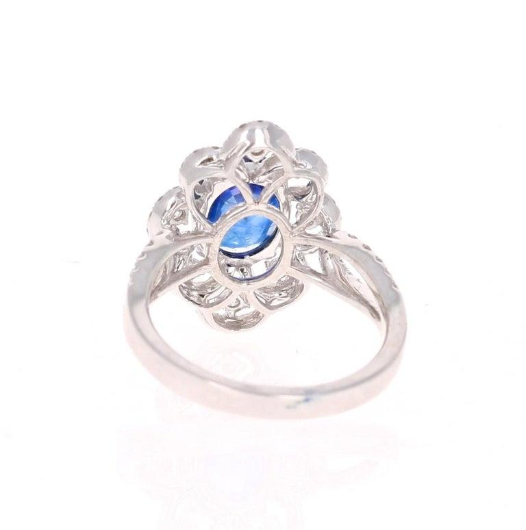 Modern 2.78 Carat GIA Certified Sapphire Diamond 18 Karat White Gold Ring For Sale