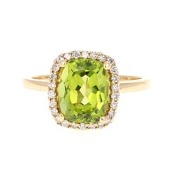 4.05 Carat Peridot Diamond 14 Karat Yellow Gold Ring