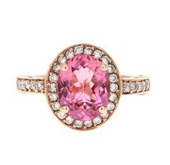 3.29 Carat Pink Tourmaline Diamond 14 Karat Rose Gold Ring