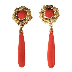 Rare 1960s Buccellati Red Coral Gold Pendant Earclips