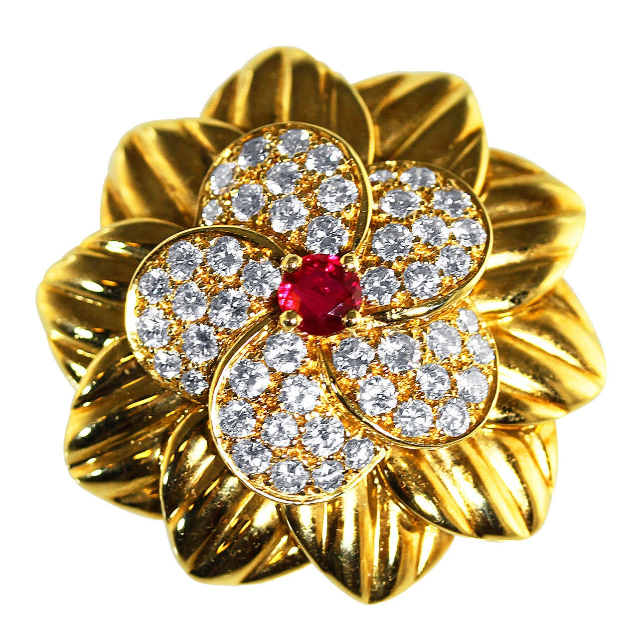 Van Cleef And Arpels Ruby Diamond Gold Brooch At 1stdibs