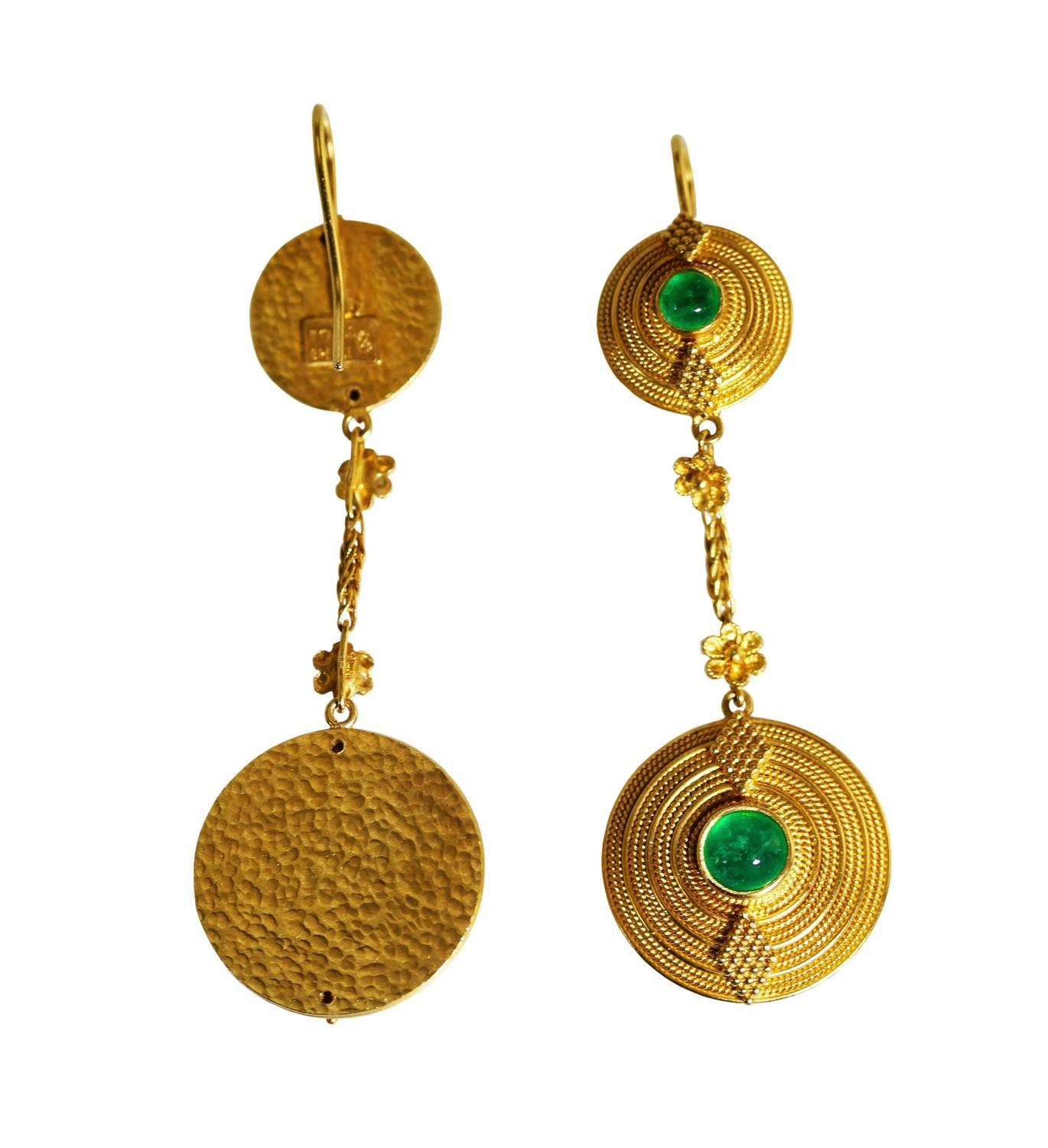 Lalaounis Cabochon Emerald Gold Pendant Earrings For Sale at 1stdibs