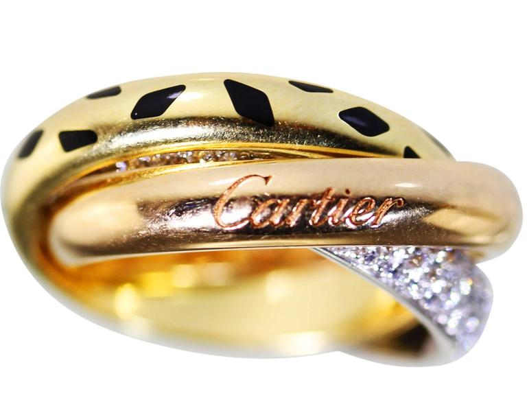 "Cartier Diamond Tricolor Gold ""Trinity"" Band Ring with Panther ""Spots"" For Sale 1"