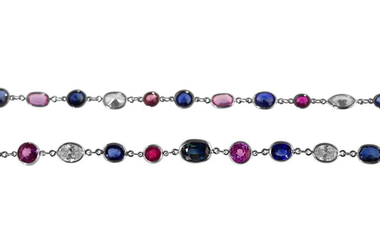 Multi-Colored Sapphire Diamond Platinum Longchain Necklace 2