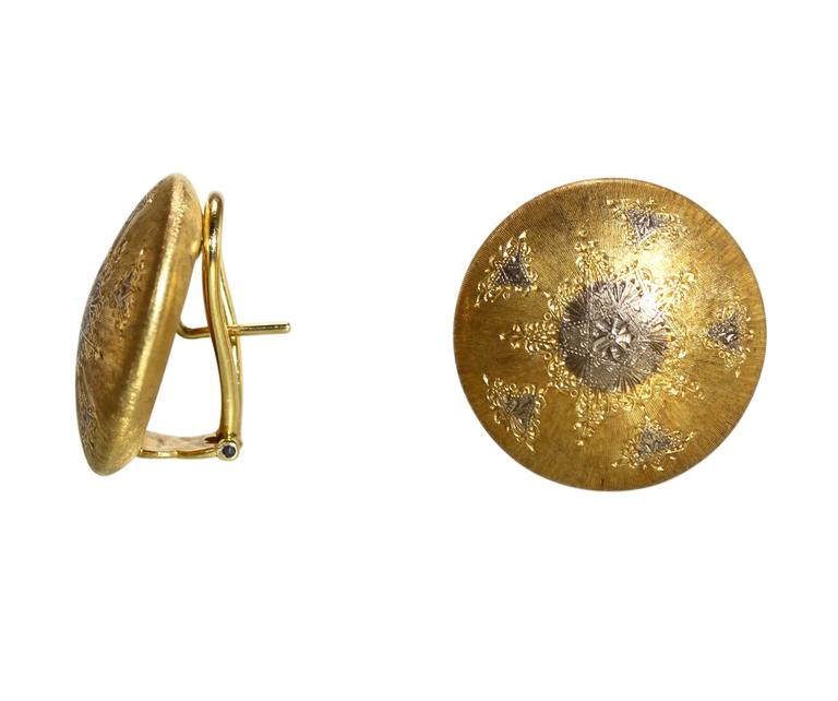 Buccellati Two-Tone Gold Button Earclips 2