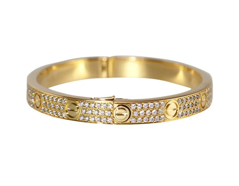 Cartier Diamond Yellow Gold Love Bangle Bracelet In Excellent Condition For Sale In Atlanta, GA