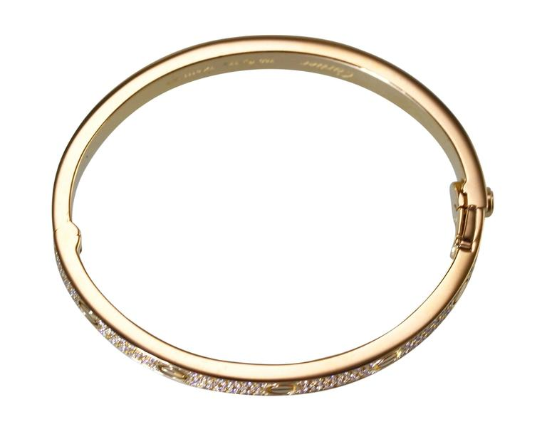Women's or Men's Cartier Diamond Yellow Gold Love Bangle Bracelet For Sale