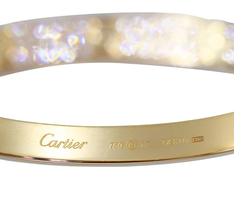 Cartier Diamond Yellow Gold Love Bangle Bracelet For Sale 1