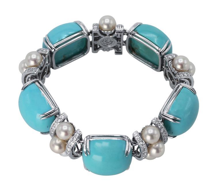 Seaman Schepps Turquoise Cultured Pearl Diamond Bracelet 2