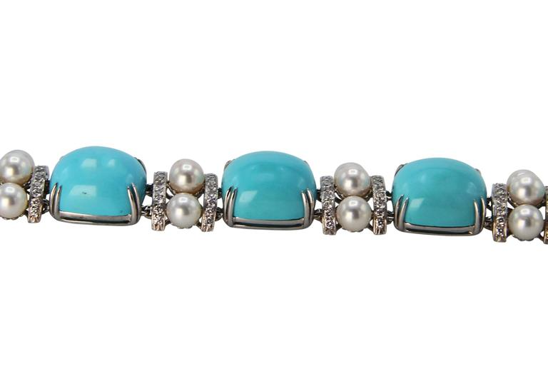 Seaman Schepps Turquoise Cultured Pearl Diamond Bracelet 5