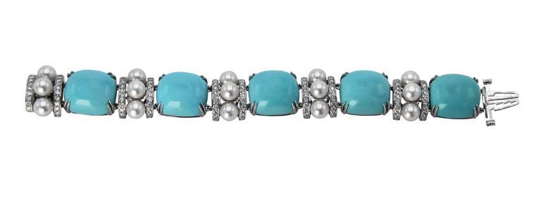 Seaman Schepps Turquoise Cultured Pearl Diamond Bracelet 3