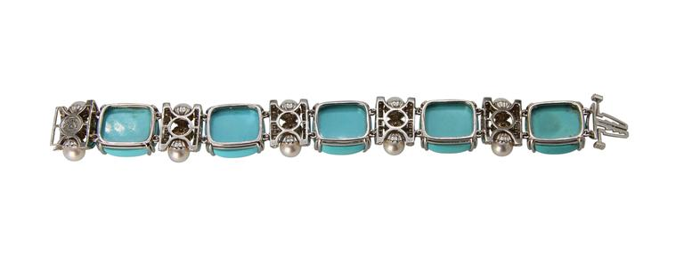 Seaman Schepps Turquoise Cultured Pearl Diamond Bracelet 4