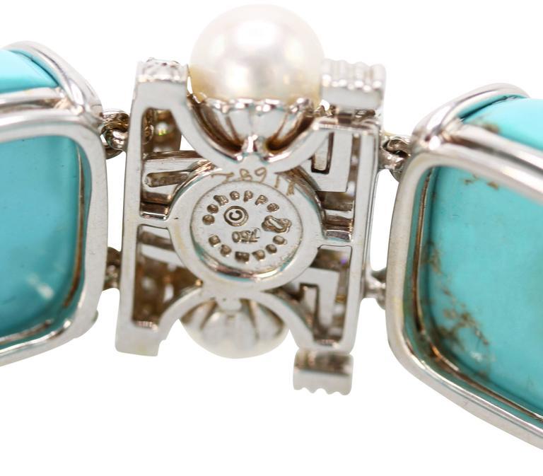 Seaman Schepps Turquoise Cultured Pearl Diamond Bracelet 6