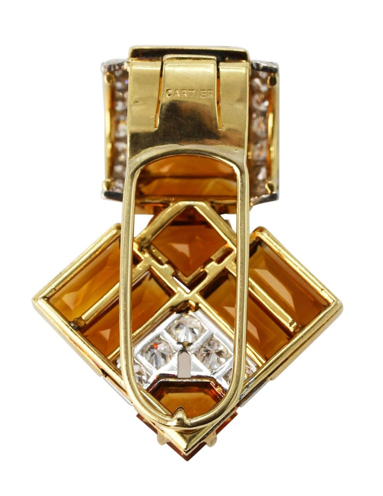 Art Deco Cartier Citrine Diamond Clip 3