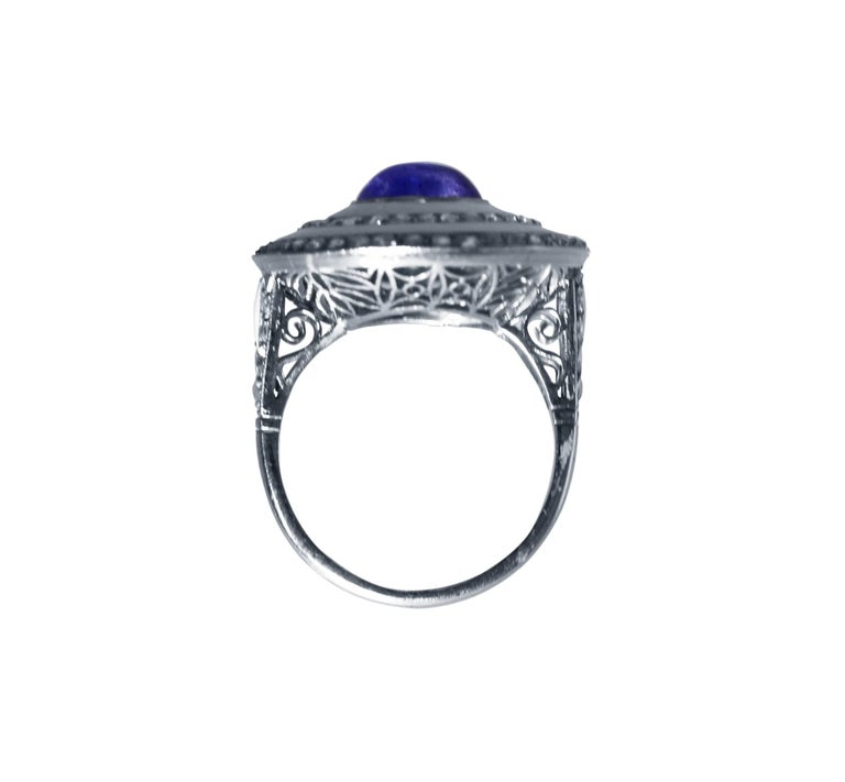 Edwardian Sapphire, White Enamel and Diamond Ring For Sale 1