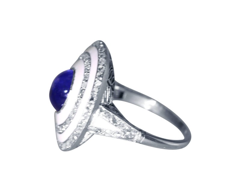 Edwardian Sapphire, White Enamel and Diamond Ring In Excellent Condition For Sale In Atlanta, GA