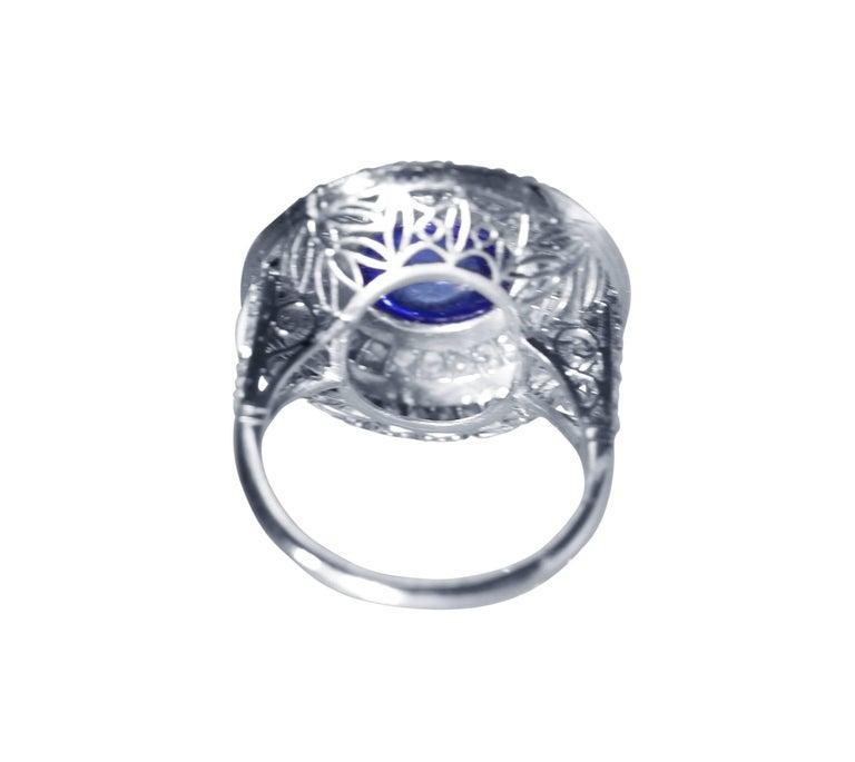Women's or Men's Edwardian Sapphire, White Enamel and Diamond Ring For Sale