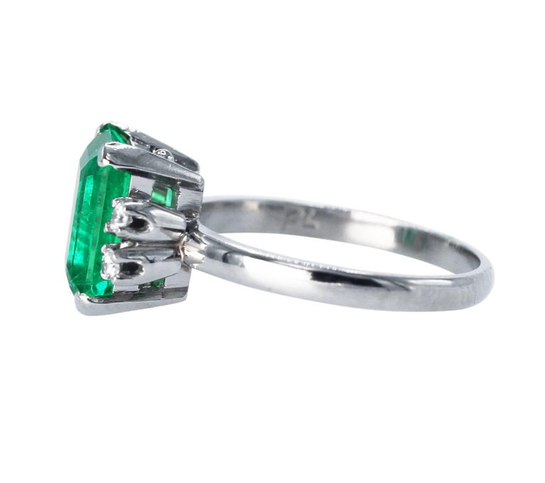 Emerald Cut AGL Certified 2.76 Carat Colombian Emerald and Diamond Ring For Sale
