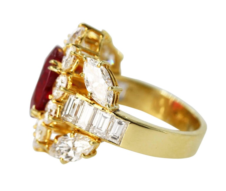 Oval Cut GIA Certified 4.24 Carat Ruby Diamond Ring For Sale