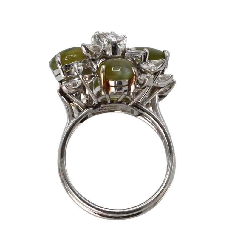 Cat's-Eye Chrysoberyl and Diamond Ring For Sale 1