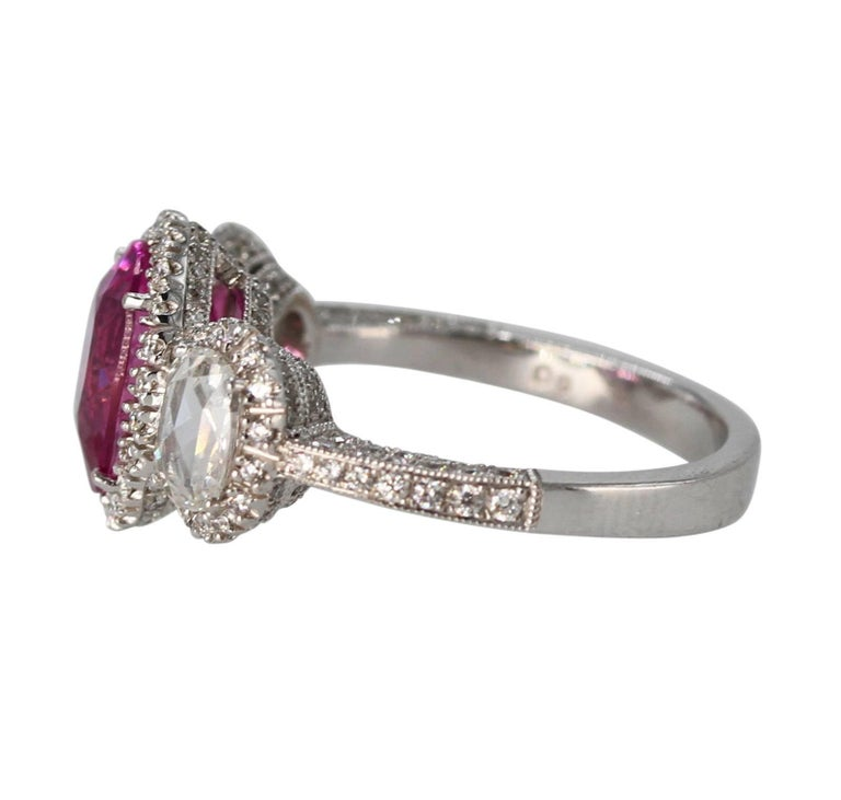 Oval Cut 2.50 Carat Pink Sapphire and Diamond Ring For Sale