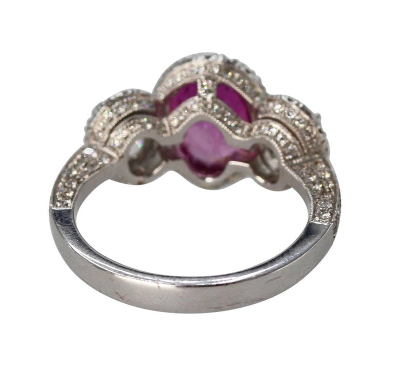 2.50 Carat Pink Sapphire and Diamond Ring In Excellent Condition For Sale In Atlanta, GA