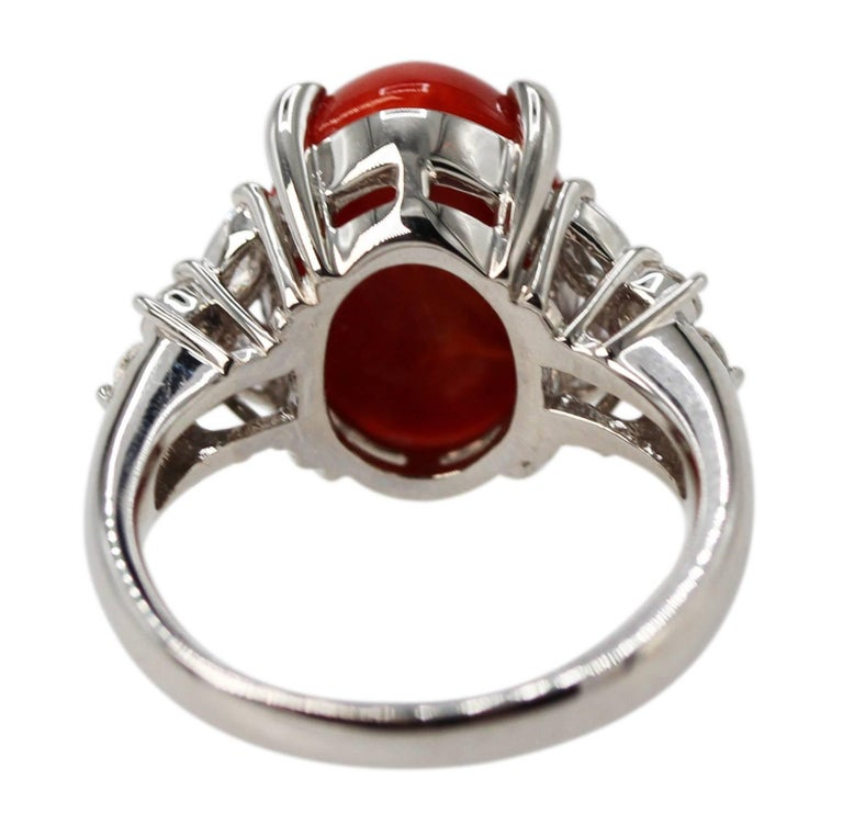 Women's or Men's Red Coral and Diamond Ring For Sale