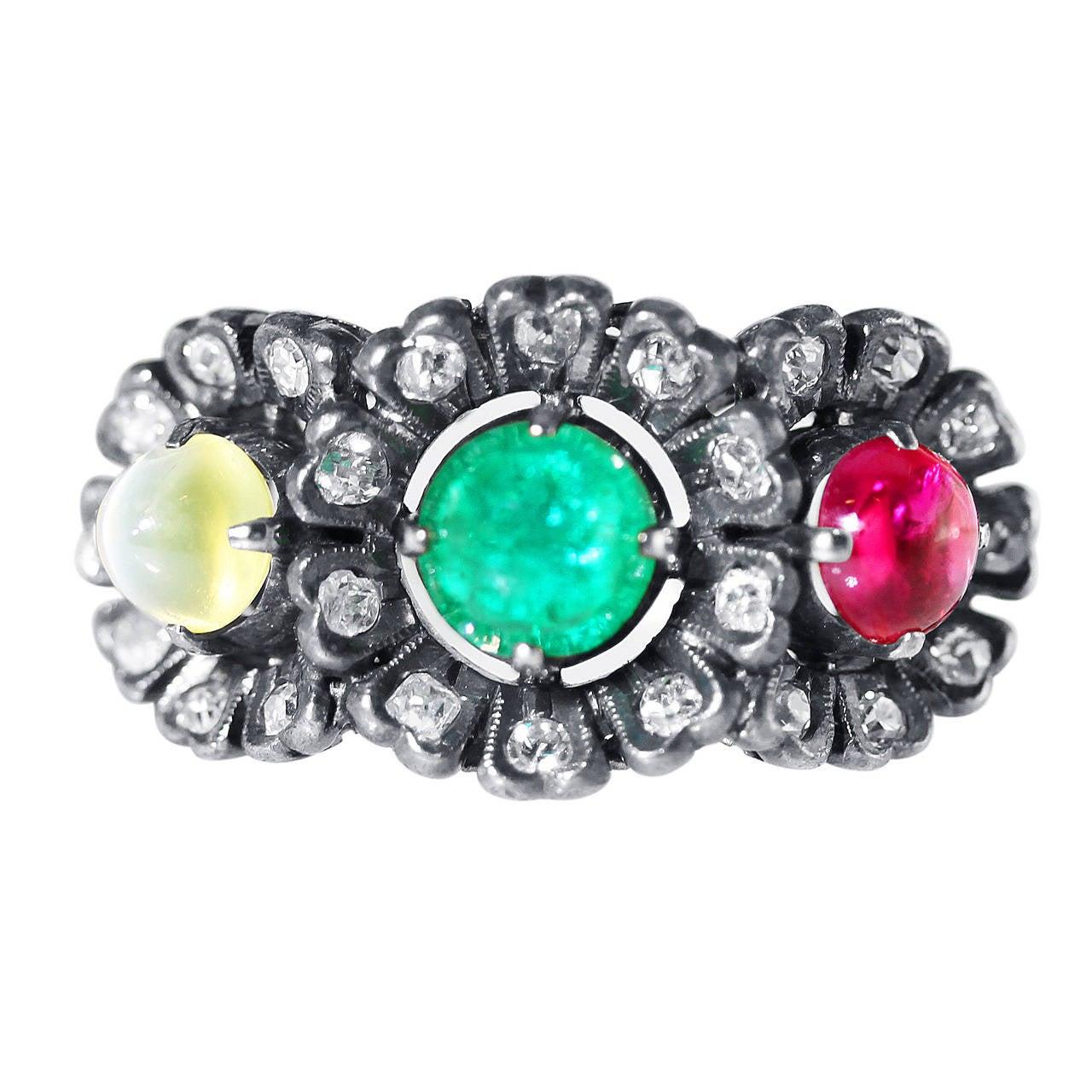 Antique Catseye Chrysoberyl Emerald Ruby Diamond Silver