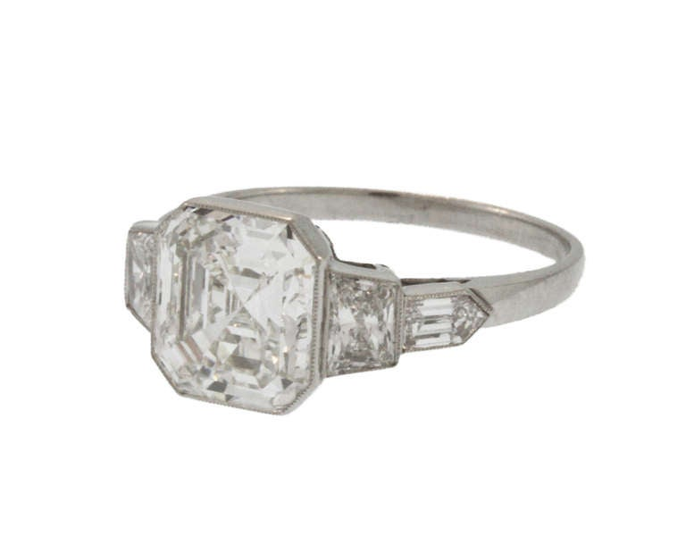 GIA certified 3 00 ct Asscher I color VS1 clarity Platinum Diamond Setting
