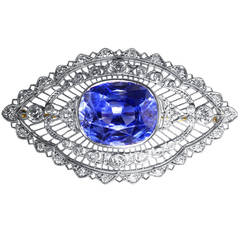 Bailey Banks & Biddle Sapphire Diamond Platinum Brooch