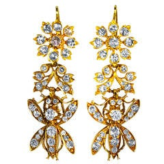 Late 19th Century Diamond Gold Pendant-Earrings