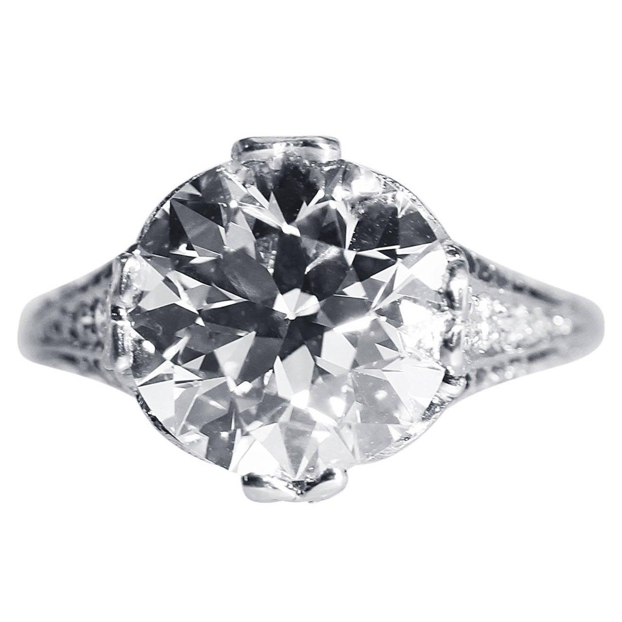 Genurine Edwardian 4 3 4ct Diamond Platinum Engagement Ring at 1stdibs