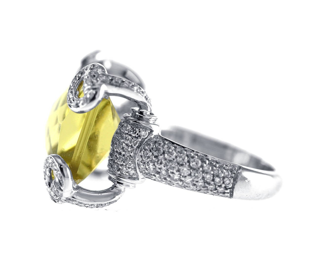 Gucci Lemon Citrine Diamond Gold Horsebit Ring at 1stdibs
