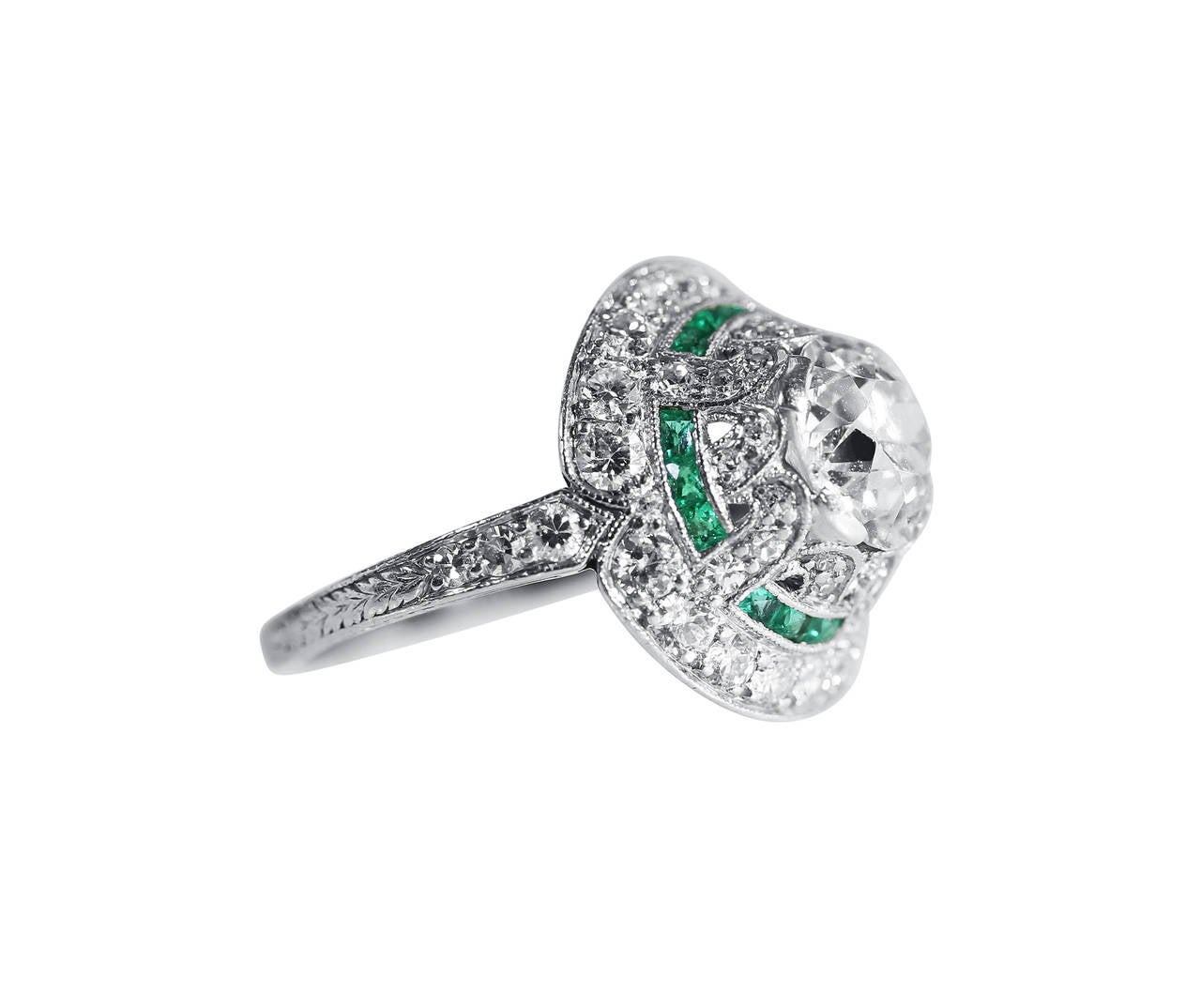 Art Deco Emerald Diamond Platinum Engagement Ring 2