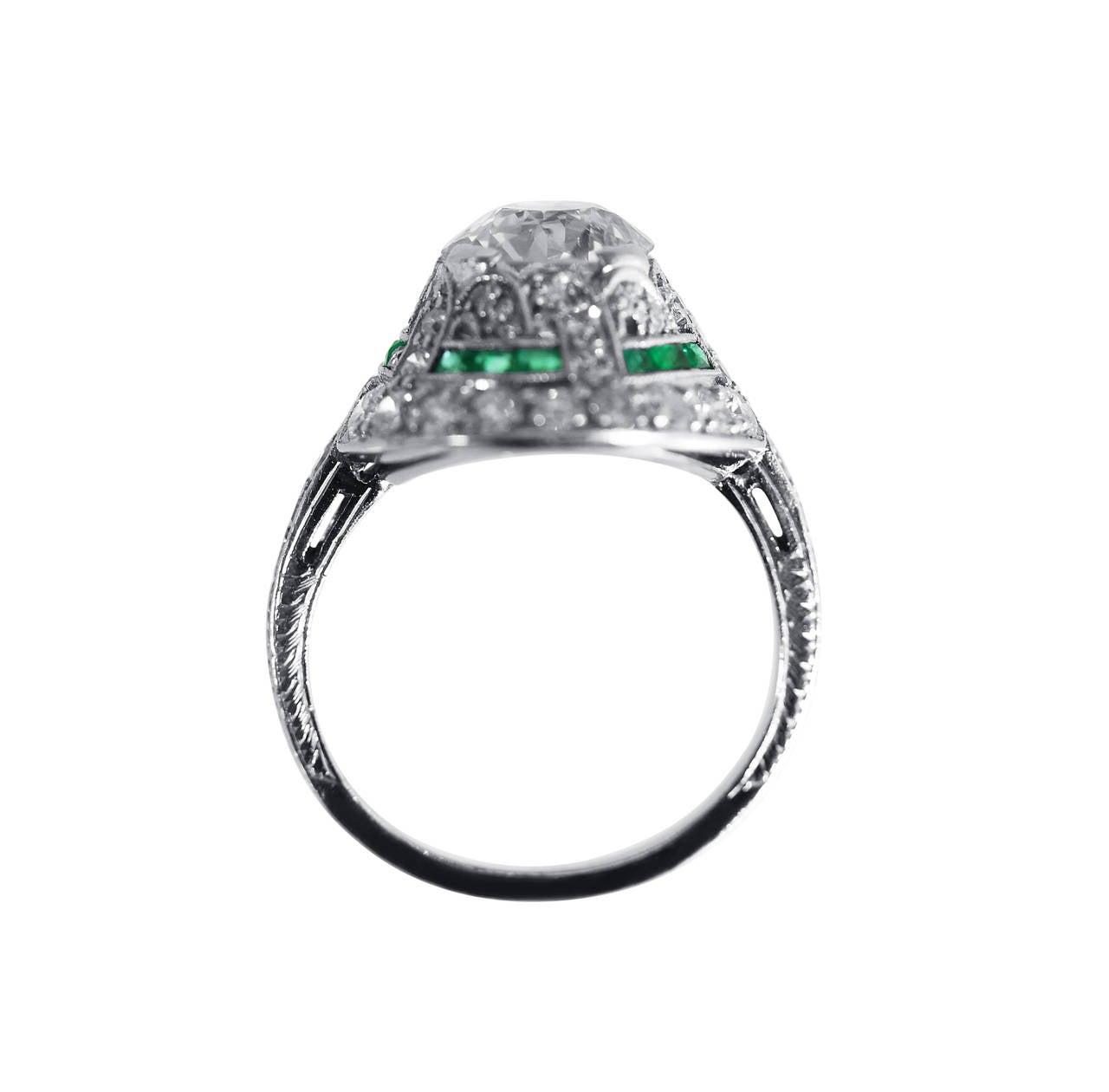 Art Deco Emerald Diamond Platinum Engagement Ring 3