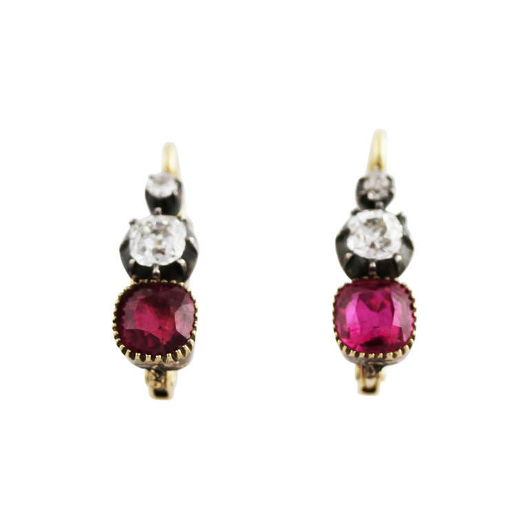 Antique Burma Ruby and Diamond Earrings at 1stdibs