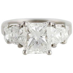 GIA Certified 3.02 Radiant, I color, VS2 clarity. Platinum Diamond Setting.