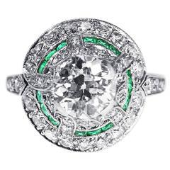 Genuine Art Deco Emerald Diamond Platinum Engagement Ring