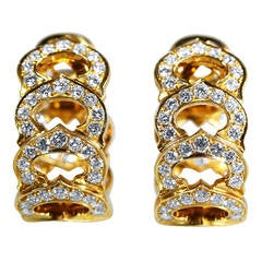 Cartier Diamond Gold C Motif Hoop Earclips