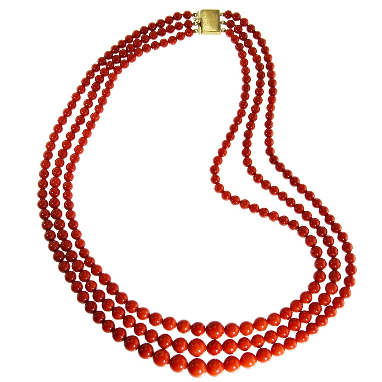 coral bead and gold necklace at 1stdibs