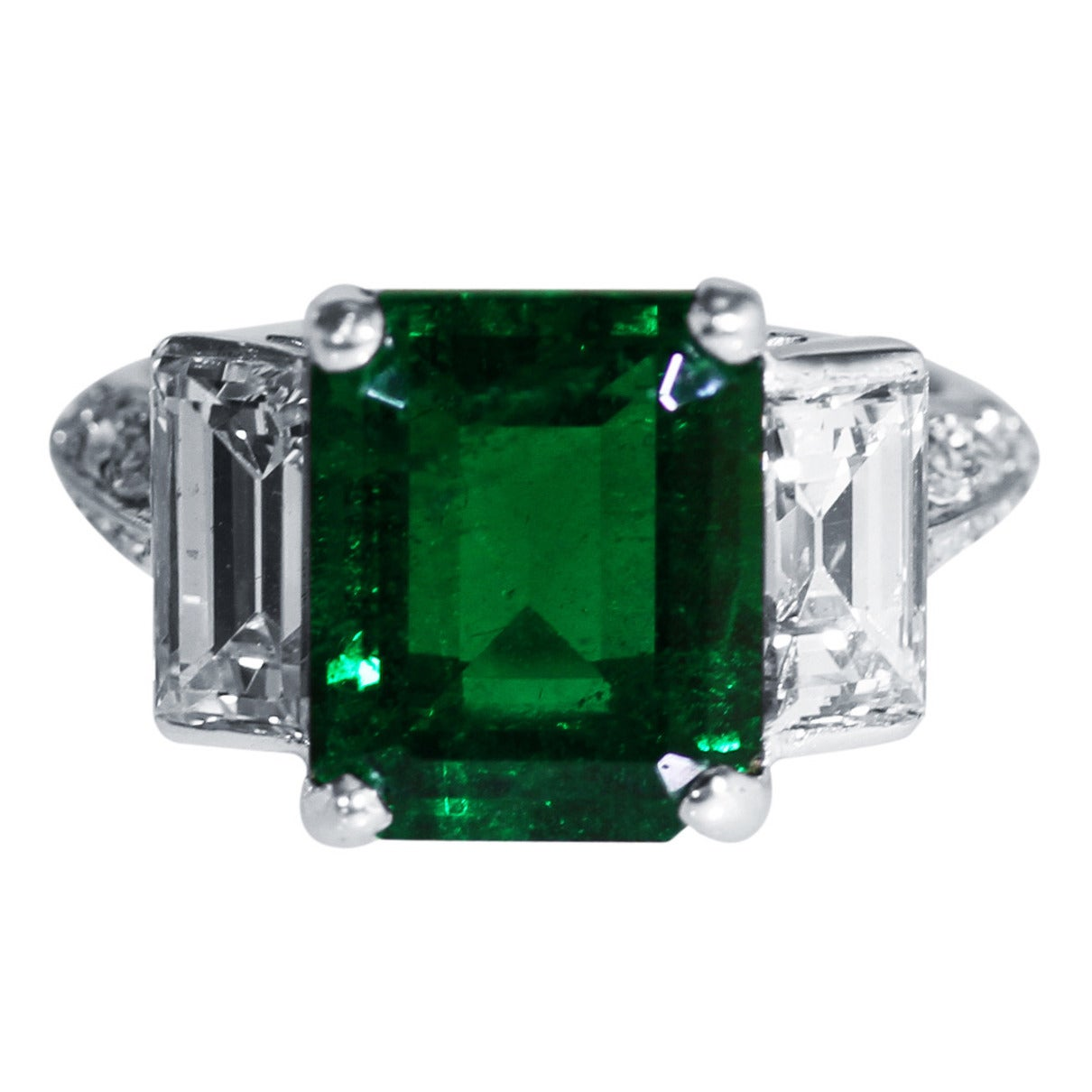 Emerald Diamond And Platinum Ring For Sale At 1stdibs
