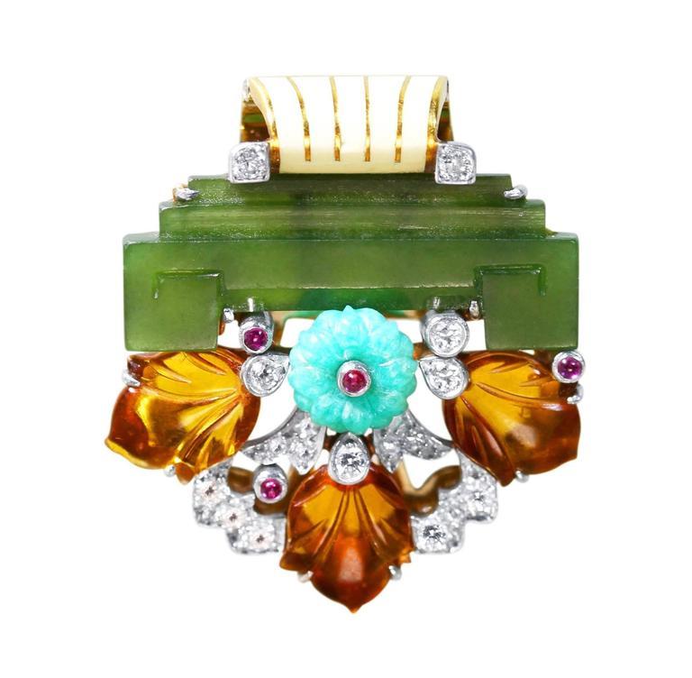 Rare Art Deco Cartier Diamond Nephrite Colored Stone Enamel Clip Brooch