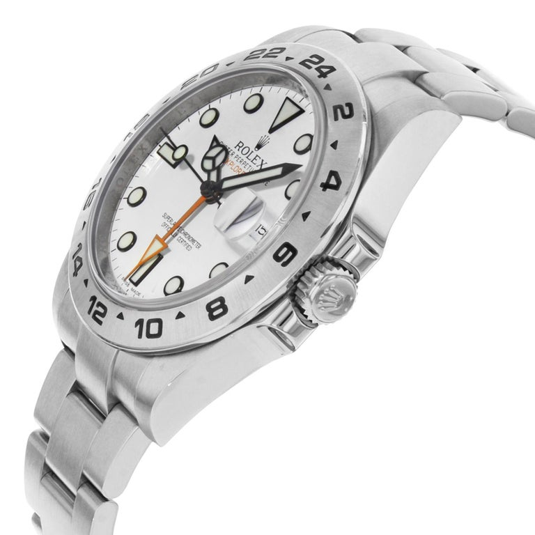Rolex Explorer II 216570 2012 Card White Dial Date Steel Automatic Men's Watch In Fair Condition For Sale In New York, NY