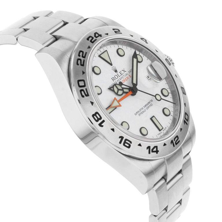 Men's Rolex Explorer II 216570 2012 Card White Dial Date Steel Automatic Men's Watch For Sale