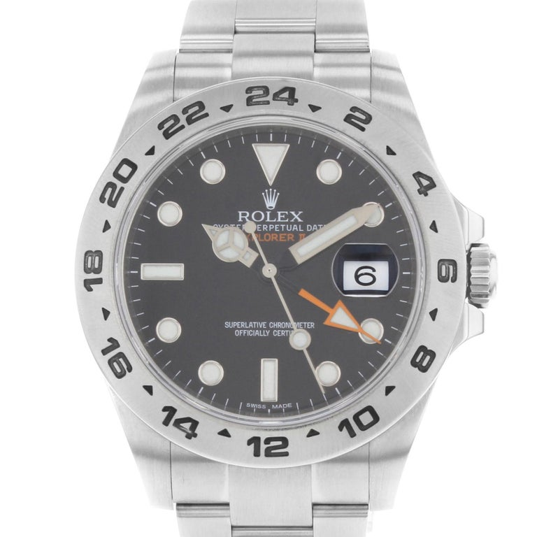 (17490) This pre-owned Rolex Explorer II 216570 is a beautiful men's timepiece that is powered by an automatic movement which is cased in a stainless steel case. It has a round shape face, date, dual time dial and has hand sticks & dots style