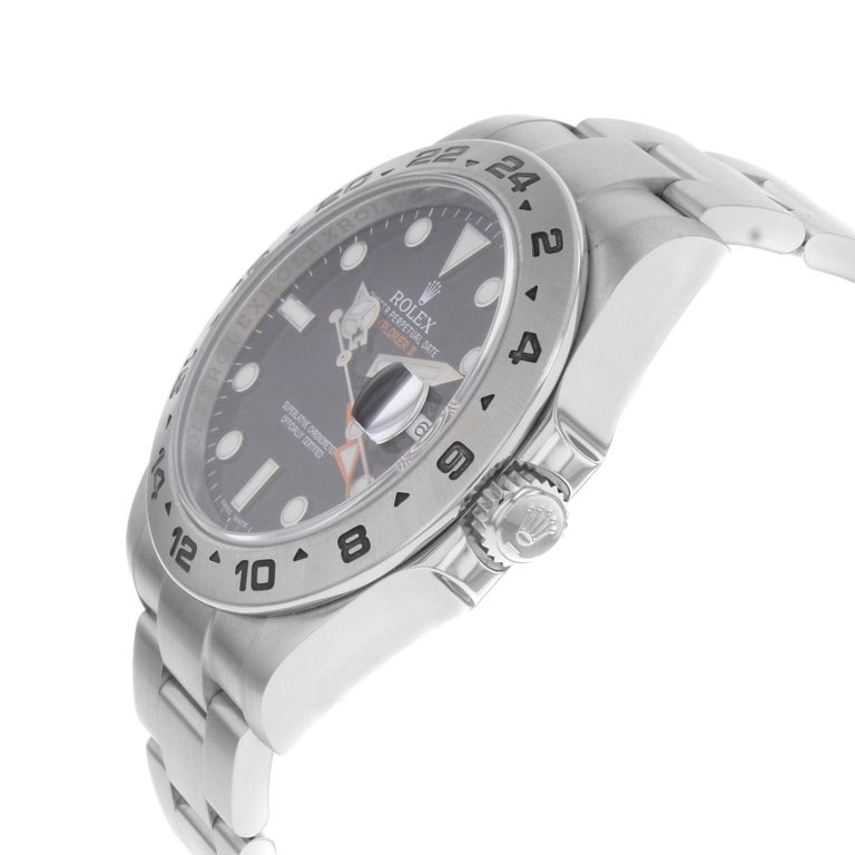 Rolex Explorer II 216570 Black Dial GMT 2010 Steel Automatic Men's Watch In Fair Condition For Sale In New York, NY