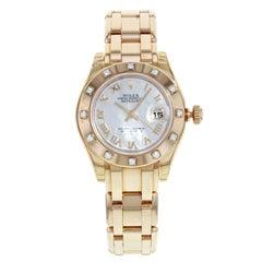 Rolex Datejust Masterpiece 80315 Pearlmaster Rose Gold MOP Diamond Ladies Watch