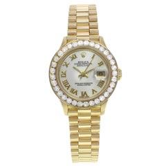 Rolex Datejust White Roman Dial Custom Diamonds Yellow Gold Ladies Watch 69178